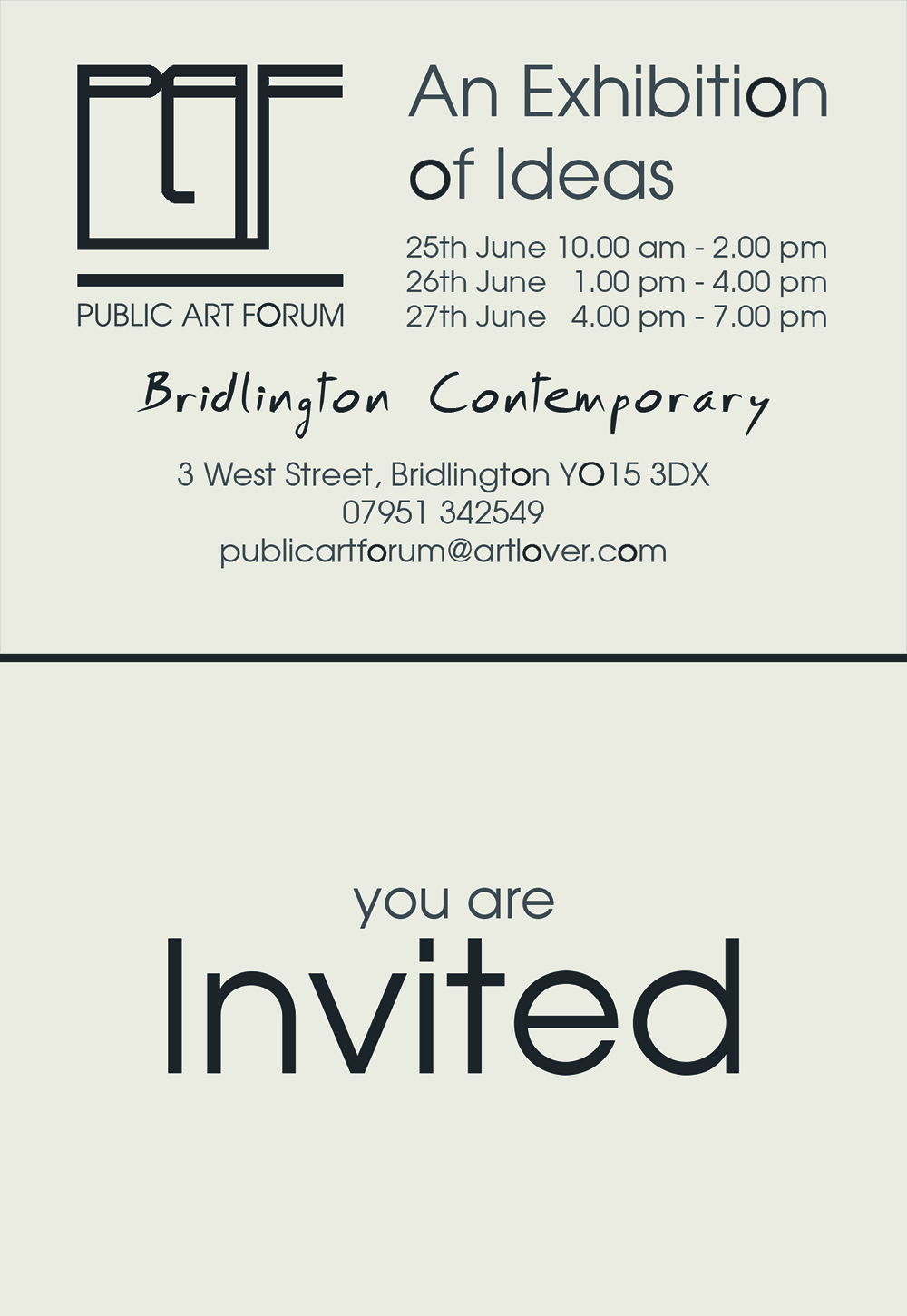 An invitation to an exhibition of ideas for the on going regeneration of Bridlington Town Centre, East Yorkshire, YO15 3DX